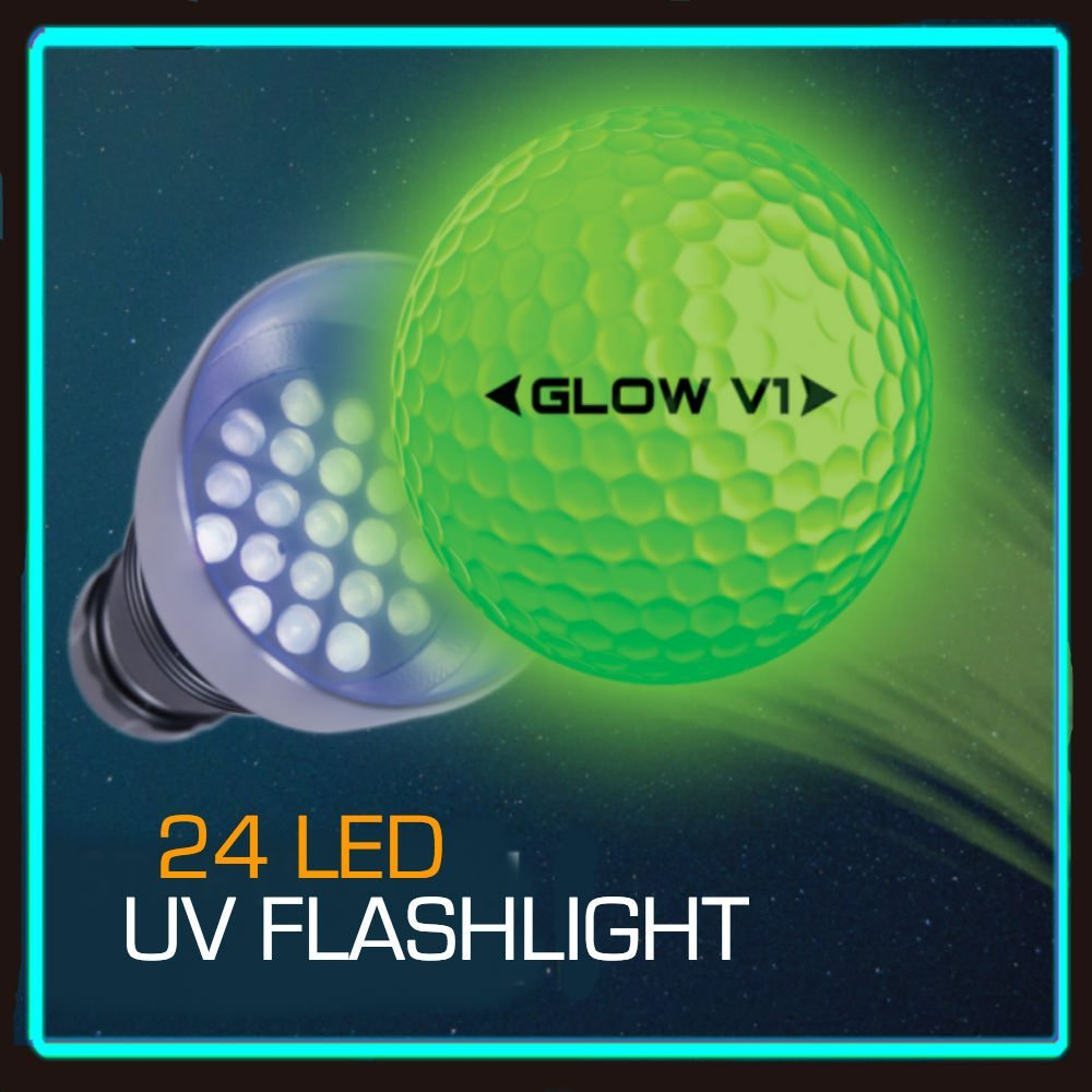 24 UV GLOW FLASHLIGHT to charge Night Golf Balls